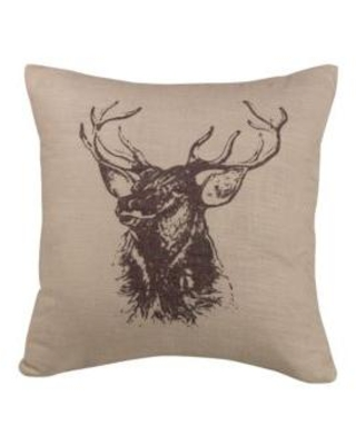 HiEnd Accents Linen Briarcliff Elk Bust Decorative Pillow 18-in. x 18-in.
