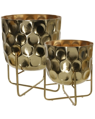 Metal Planter with Hammered Details and X shape Base, Seat of 2, Gold (Gold)