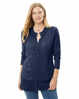 Plus Size Women's Long-Sleeve Pointelle Cardigan Sweater by Woman Within in Navy Blue (5X)