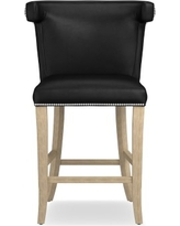 Regency Stool, Counter, Grey, Tuscan Leather, Black