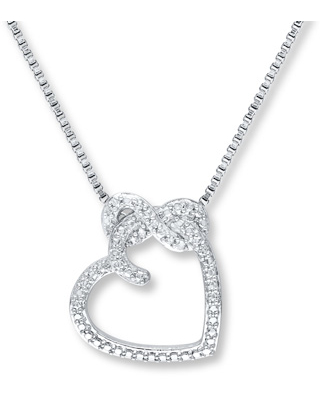 7d78575ed2db5a Can't Miss Deals on Heart Necklace 1/20 ct tw Diamonds Sterling Silver