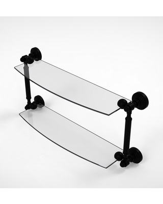 Allied Brass Waverly Place Collection 18 in. 2-Tiered Glass Shelf in Matte Black