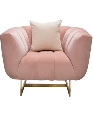 """Venus Collection VENUSCHPN 42"""" Chair with Plush Velvet Upholstery Metal Base Vertical Channel Tufting and Padded Cushioning in Blush"""