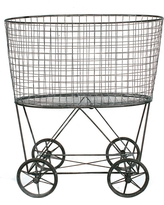 Metal Vintage Laundry Basket with Wheels, Multi-Colored