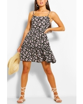 Womens Floral Print Strappy Tiered Swing Dress - Purple - 6