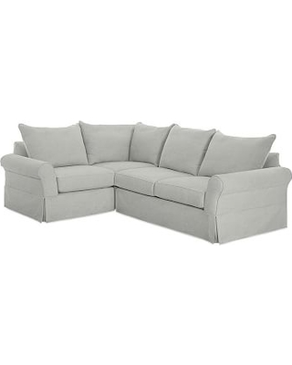 PB Comfort Roll Arm Slipcovered Right Arm 3-Piece Wedge Sectional, Box Edge Down Blend Wrapped Cushions, Basketweave Slub Ash