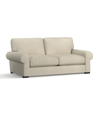 """Turner Roll Arm Upholstered Loveseat 2-Seater 78"""", Down Blend Wrapped Cushions, Premium Performance Basketweave Oatmeal"""