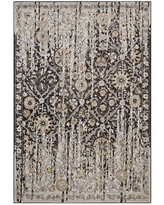 Modway Ganesa Distressed Diamond Floral Lattice 5x8 Area Rug in Black and Beige