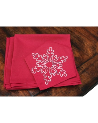 Xia Home Fashions 20 in. x 20 in. Snowy Noel Embroidered Snowflake Christmas Napkins in Red and White (4-Set)