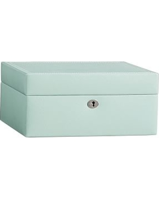 Deal Alert McKenna Leather Medium Jewelry Box Porcelain Blue
