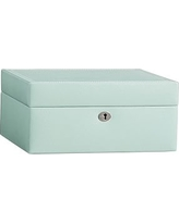 McKenna Leather Medium Jewelry Box, Porcelain Blue