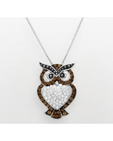 Artistique Sterling Silver Crystal Owl Pendant - Made with Swarovski Crystals, Women's, Brown