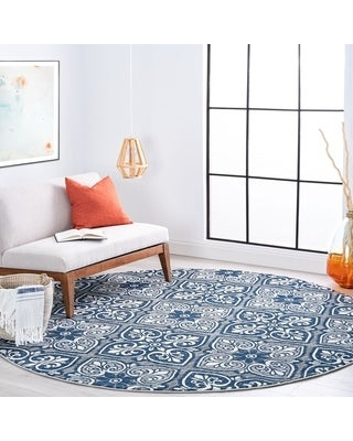 Alise Rugs Carrington Traditional Floral Area Rug (7'10'' Round - Gray)
