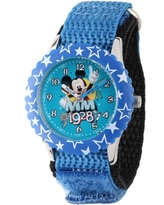 Mickey Mouse Boys' Stainless Steel Time Teacher Watch, Blue Bezel, Blue Hook and Loop Nylon Strap with Black Backing