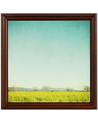 "Sky and Mustard Field by Lupen Grainne, 18 x 18"", Ridged Distressed, Espresso, No Mat"