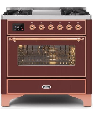 """UM09FDNS3BUP 36"""" Majestic II Series Dual Fuel Natural Gas Range with 6 Burners and Griddle 3.5 cu. ft. Oven Capacity TFT Oven Control Display"""