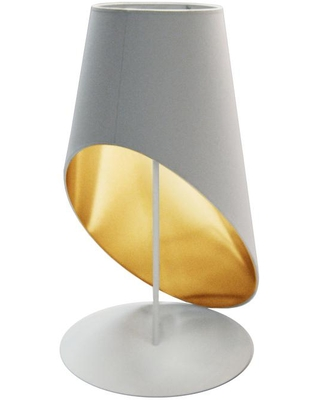 Dainolite Slanted Drum 24 in. H 1-Light White Table Lamp with Fabric Shade