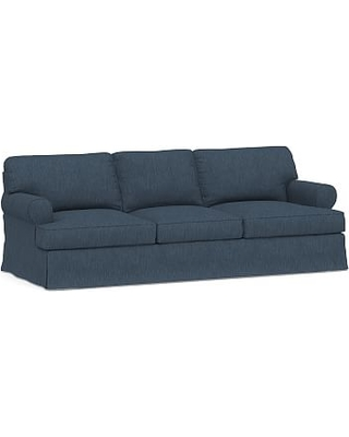 """Townsend Roll Arm Slipcovered Grand Sofa 101.5"""", Polyester Wrapped Cushions, Performance Heathered Tweed Indigo"""