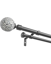 Gunmetal Exclusive Home Curtains Fetter Wrap Around Double Curtain Rod 36-72