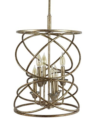 Decor Therapy CH1933 Oakley 6 Light Pendant, Painted Gold