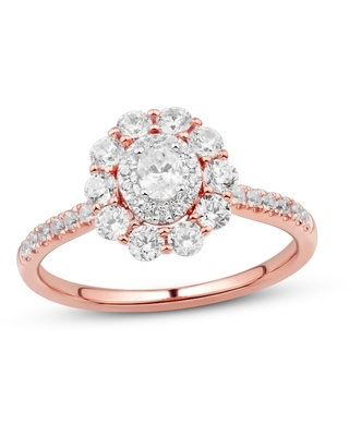 Jared Diamond Engagement Ring 1 ct tw Round/Oval 14K Rose Gold