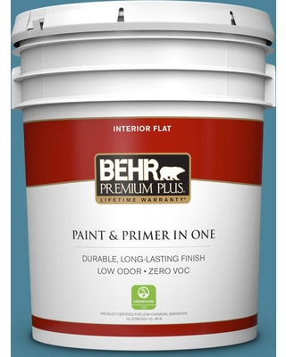 BEHR Premium Plus 5 gal. #S480-5 Blue Moon Bay Flat Low Odor Interior Paint and Primer in One