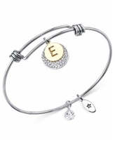 Unwritten Pave and Initial Disc Bangle Bracelet in Stainless Steel and Silver Plated - E