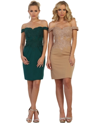 May Queen - Fitted Off Shoulder Cocktail Dress