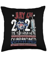 4th Of July Cloths Patriotic American Gifts 2021 Quarantined 4th Of July Funny Social Distancing Throw Pillow, 18x18, Multicolor