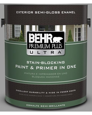 BEHR Premium Plus Ultra 1 gal. #PPU26-06 Elemental Gray Semi-Gloss Enamel Exterior Paint and Primer in One