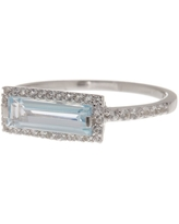 DELMAR Sterling Silver Blue Topaz & Sky White Sapphire Ring, Size 7 at Nordstrom Rack