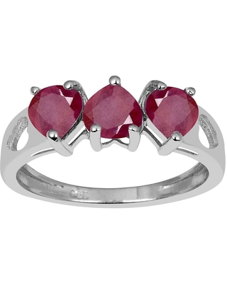 Ruby Sterling Silver Pear 3-Stone Ring by Essence Jewelry (7)