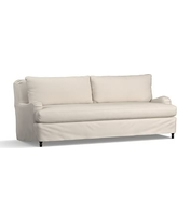 """Carlisle Slipcovered Grand Sofa 90.5"""" with Bench Cushion, Down Blend Wrapped Cushions, Performance Twill Stone"""