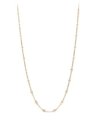 Ladies Round Diamond Chain Necklace 1ctw in 14k Gold by Luxurman (Rose)