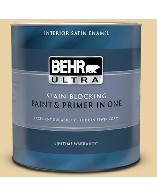 BEHR ULTRA 1 qt. #M300-3 Harmonious Gold Satin Enamel Interior Paint and Primer in One
