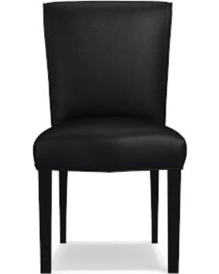 Fitzgerald Dining Side Chair, Ebony, Tuscan Leather, Black