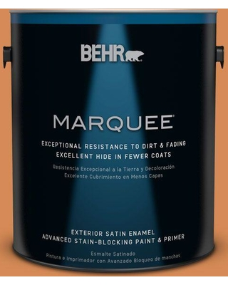 BEHR MARQUEE 1 gal. #PMD-80 Spiced Pumpkin Satin Enamel Exterior Paint and Primer in One