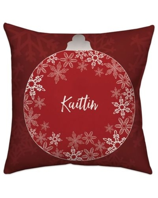 Ornament Square Throw Pillow in Red/White