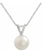 18k White Gold AAA Akoya Cultured Pearl Pendant, Women's, Size: 16""