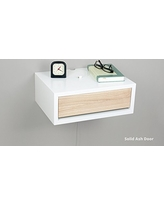 spectacular deal on sleek floating nightstand drawer hardwood front Floating Night Table