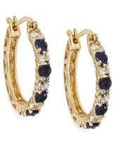 Dolce Giavonna Gold Over Sterling Silver Gemstone Hoop Earrings (Blue - September - Sapphire)