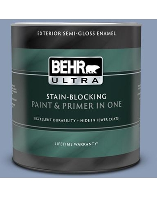 BEHR ULTRA 1 qt. #PMD-72 Periwinkle Dusk Semi-Gloss Enamel Exterior Paint and Primer in One