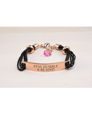 Genuine Leather ID Bracelet with Crystals from Swarovski - STAY HUMBLE