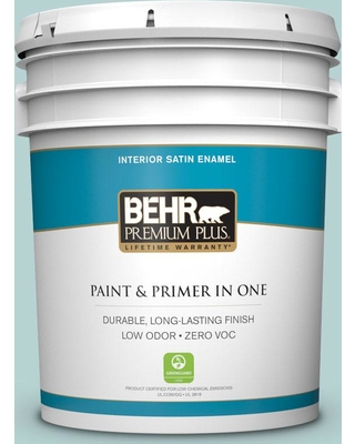 BEHR Premium Plus 5 gal. #S440-2 Malaysian Mist Satin Enamel Low Odor Interior Paint and Primer in One