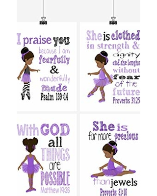 Pixie Paper African American Ballerina Inspirational Nursery Decor Wall Art Set Of 4 Prints In Lavender Purple From Amazon Parenting Com Shop