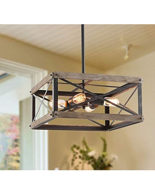 Amazing Deals On Lnc Farmhouse Chandelier Rustic Wood Cage Square Light Fixture For Dining Living Room Bedroom Foyer Entryway And Kitchen Island Brown