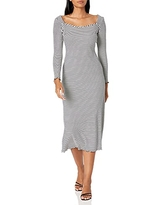 Maggy London womens Maggy London Women's Long Sleeve,square Neck Maxi Casual Dress, Black White, 8-Jan US