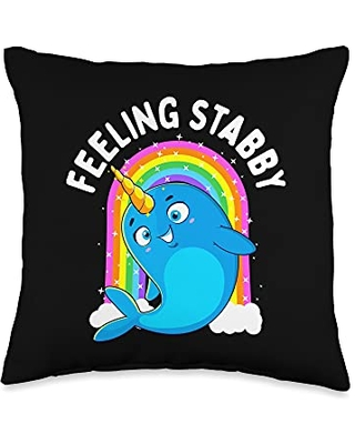 Unicorn Squad Goals Gift Store Feeling Stabby Narwhal Kawaii Whale Gift Teen Girls Women Throw Pillow, 16x16, Multicolor