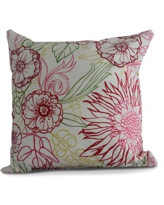 Simply Daisy, 18 x 18 Inch, zentangle 4 Color, Floral Print Pillow, Red