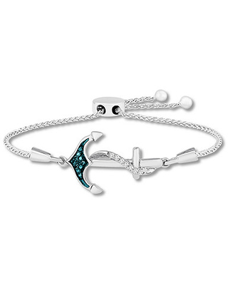 Jared The Galleria Of Jewelry Blue & White Diamond Bolo Bracelet 1/15 ct tw Sterling Silver